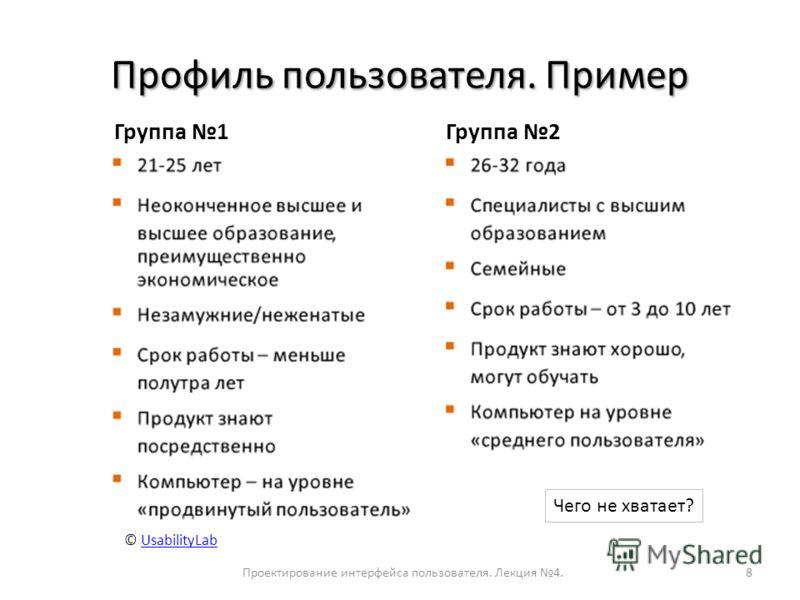 Профиль пользователя. Пример Проектирование интерфейса пользователя. Лекция 4.8 © UsabilityLabUsabilityLab Группа 1Группа 2 Чего не хватает?