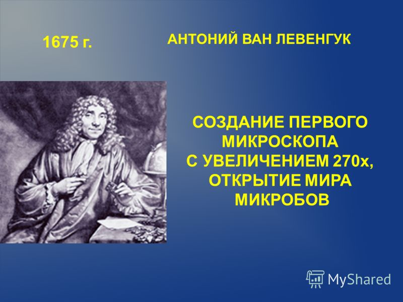 1675 г. СОЗДАНИЕ ПЕРВОГО МИКРОСКОПА С УВЕЛИЧЕНИЕМ 270х, ОТКРЫТИЕ МИРА МИКРОБОВ АНТОНИЙ ВАН ЛЕВЕНГУК