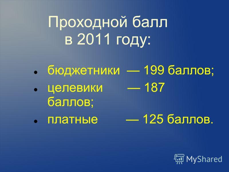 Проходной балл в 2011 году: бюджетники 199 баллов; целевики 187 баллов; платные 125 баллов.