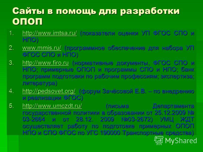 Сайты в помощь для разработки ОПОП 1.http://www.imtsa.ru/ (показатели оценки УП ФГОС СПО и НПО) http://www.imtsa.ru/ 2.www.mmis.ru/ (программное обеспечение для набора УП ФГОС СПО и НПО) www.mmis.ru/ 3.http://www.firo.ru (нормативные документы, ФГОС