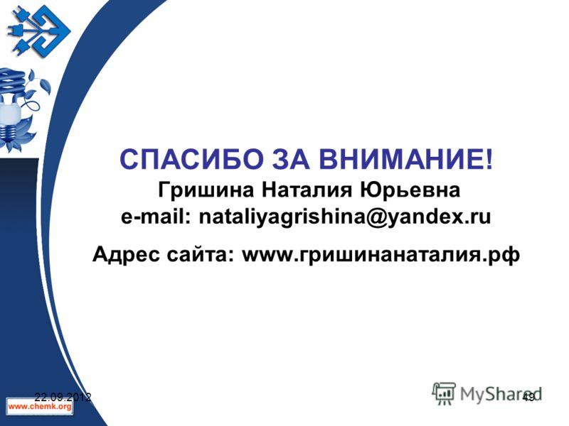 СПАСИБО ЗА ВНИМАНИЕ! Гришина Наталия Юрьевна e-mail: nataliyagrishina@yandex.ru Адрес сайта: www.гришинанаталия.рф 22.09.201249