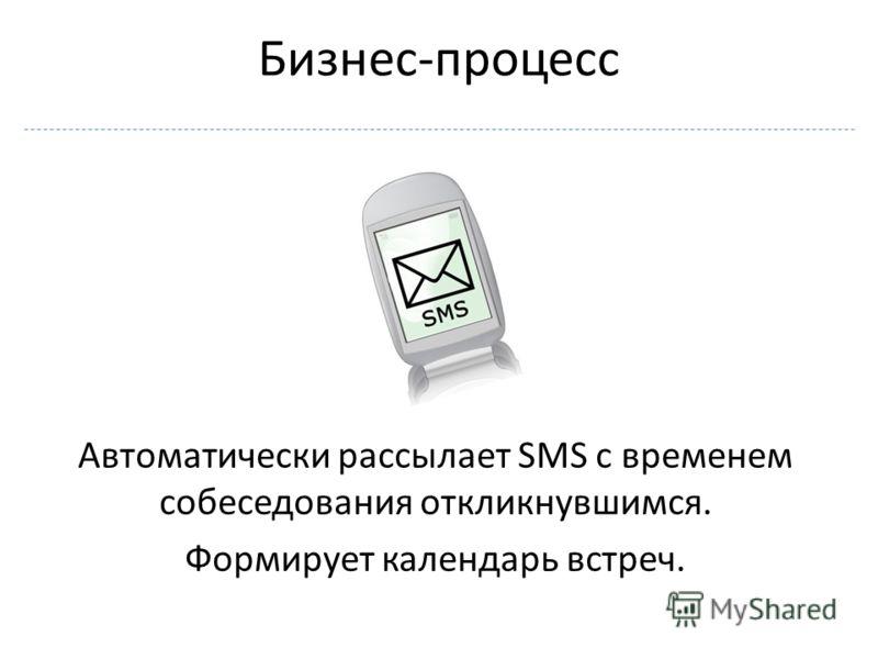 Автоматически рассылает SMS с временем собеседования откликнувшимся. Формирует календарь встреч.