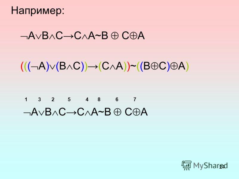 24 Например: A B C C A~B C A ((( A) (B C)) (C A))~((B C) A) 1 3 2 5 4 8 6 7 A B C C A~B C A