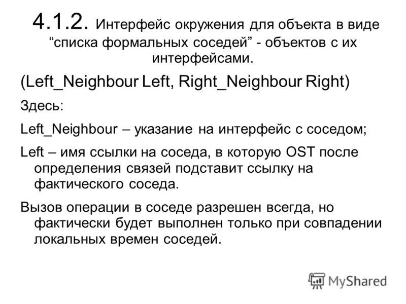 4.1.2. Интерфейс окружения для объекта в виде списка формальных соседей - объектов с их интерфейсами. (Left_Neighbour Left, Right_Neighbour Right) Здесь: Left_Neighbour – указание на интерфейс с соседом; Left – имя ссылки на соседа, в которую OST пос