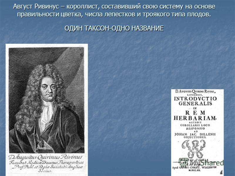 Август Ривинус – короллист, составивший свою систему на основе правильности цветка, числа лепестков и троякого типа плодов. ОДИН ТАКСОН-ОДНО НАЗВАНИЕ