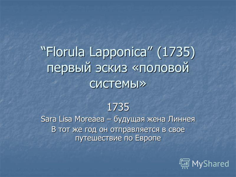 Florula Lapponica (1735) первый эскиз «половой системы» 1735 Sara Lisa Moreaea – будущая жена Линнея В тот же год он отправляется в свое путешествие по Европе