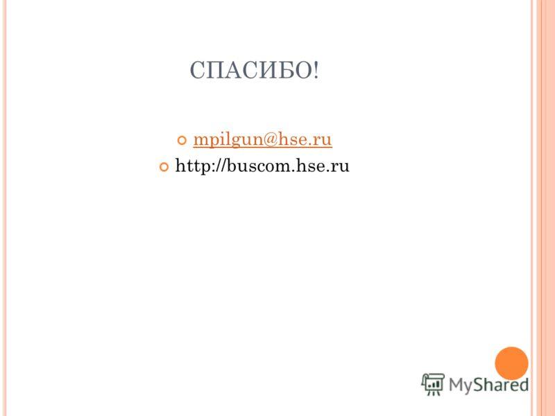 СПАСИБО! mpilgun@hse.ru http://buscom.hse.ru