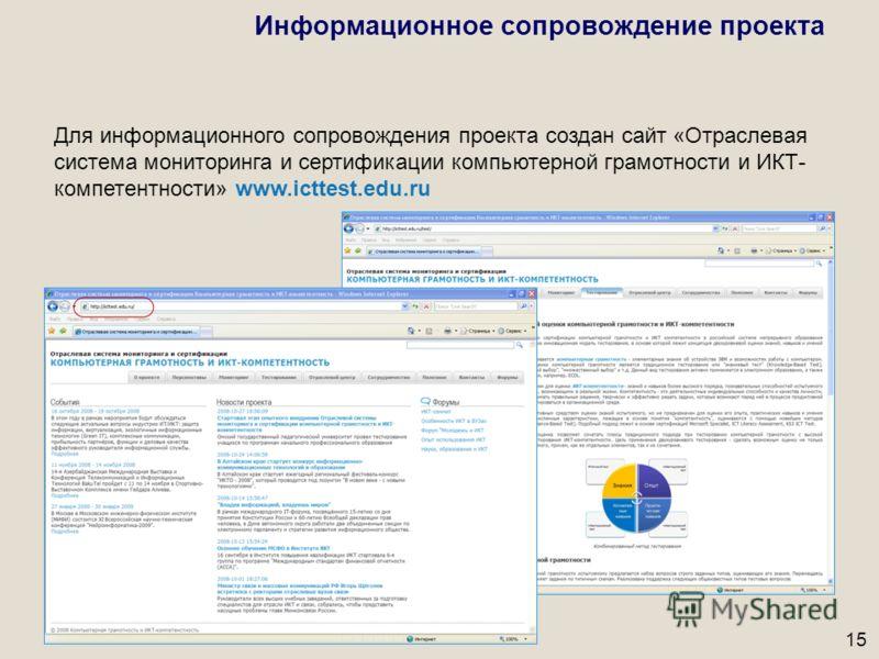 15 Для информационного сопровождения проекта создан сайт «Отраслевая система мониторинга и сертификации компьютерной грамотности и ИКТ- компетентности» www.icttest.edu.ru Информационное сопровождение проекта
