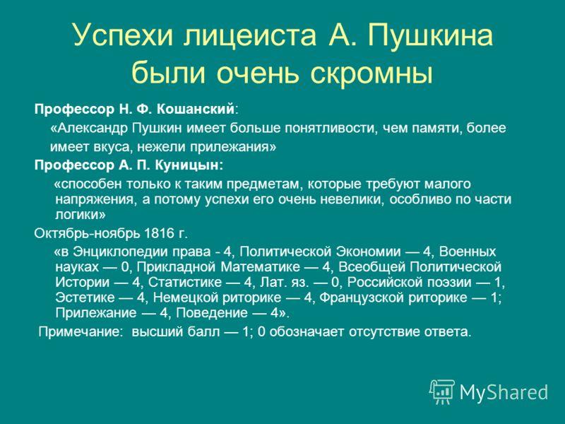 Успехи лицеиста А. Пушкина были очень скромны Профессор Н. Ф. Кошанский: «Александр Пушкин имеет больше понятливости, чем памяти, более имеет вкуса, нежели прилежания» Профессор А. П. Куницын: «способен только к таким предметам, которые требуют малог
