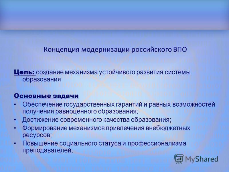 Структура доклада Концепция модернизации российского ВПО Цель: создание механизма устойчивого развития системы образования Основные задачи Обеспечение государственных гарантий и равных возможностей получения равноценного образования; Достижение совре