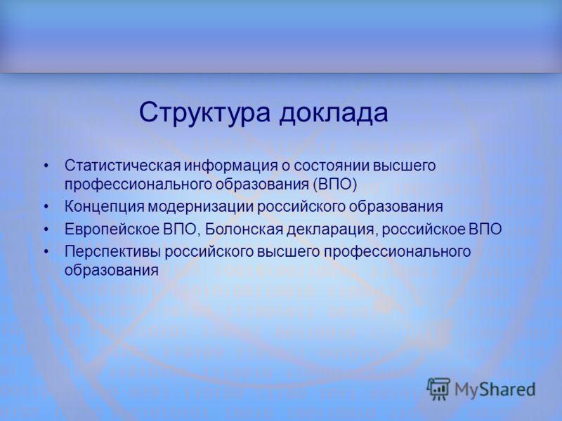 Структура доклада Статистическая информация о состоянии высшего профессионального образования (ВПО) Концепция модернизации российского образования Европейское ВПО, Болонская декларация, российское ВПО Перспективы российского высшего профессионального