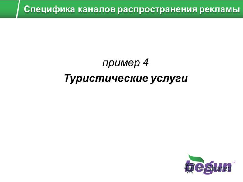пример 4 Туристические услуги Специфика каналов распространения рекламы