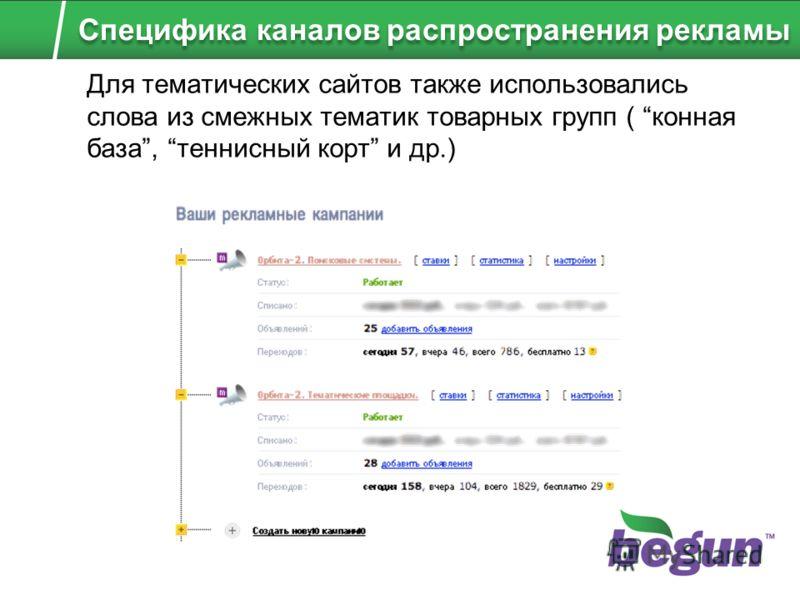 Для тематических сайтов также использовались слова из смежных тематик товарных групп ( конная база, теннисный корт и др.) Специфика каналов распространения рекламы