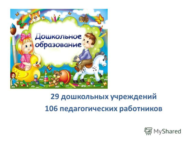 2012 29 дошкольных учреждений 106 педагогических работников