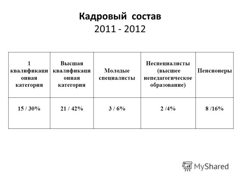 Кадровый состав 2011 - 2012 1 квалификаци онная категория Высшая квалификаци онная категория Молодые специалисты Неспециалисты (высшее непедагогическое образование) Пенсионеры 15 / 30%21 / 42%3 / 6%2 /4%8 /16%