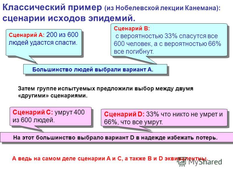 Классический пример (из Нобелевской лекции Канемана): сценарии исходов эпидемий. Сценарий A: 200 из 600 людей удастся спасти. Сценарий B: с вероятностью 33% спасутся все 600 человек, а с вероятностью 66% все погибнут. Сценарий B: с вероятностью 33% с