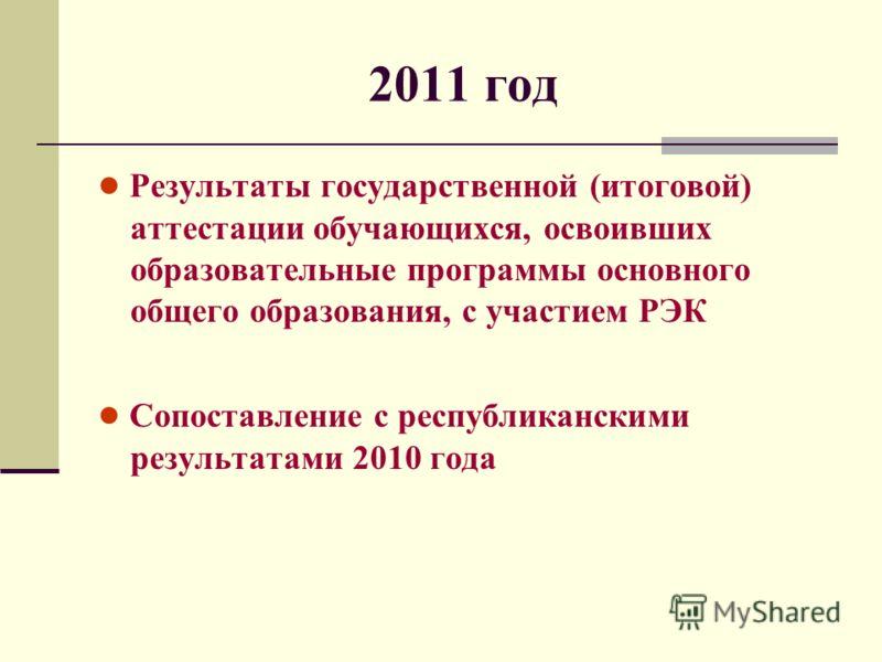 2011 год Результаты государственной (итоговой) аттестации обучающихся, освоивших образовательные программы основного общего образования, с участием РЭК Сопоставление с республиканскими результатами 2010 года