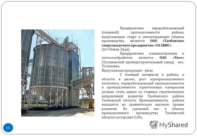 Предприятием перерабатывающей ( пищевой ) промышленности района, выпускающим спирт и увеличивающим объемы производства, является ОАО « Тамбовское спиртоводочное предприятие « ТАЛВИС » ( пгт Новая Ляда ). Предприятием машиностроения и металлообработки