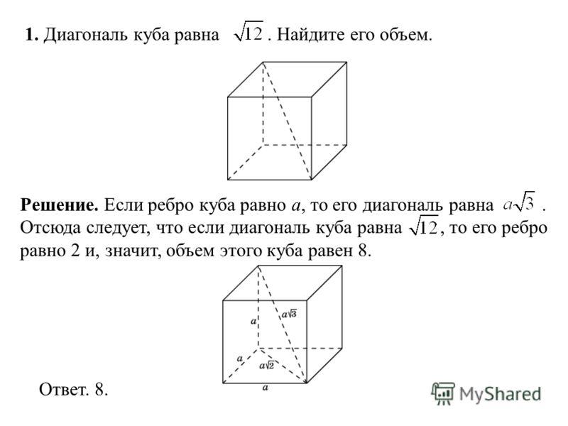 1. Диагональ куба равна. Найдите его объем. Ответ. 8. Решение. Если ребро куба равно a, то его диагональ равна. Отсюда следует, что если диагональ куба равна, то его ребро равно 2 и, значит, объем этого куба равен 8.