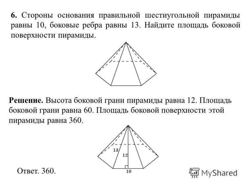6. Стороны основания правильной шестиугольной пирамиды равны 10, боковые ребра равны 13. Найдите площадь боковой поверхности пирамиды. Ответ. 360. Решение. Высота боковой грани пирамиды равна 12. Площадь боковой грани равна 60. Площадь боковой поверх