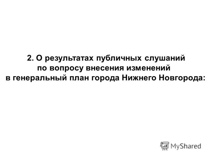2. О результатах публичных слушаний по вопросу внесения изменений в генеральный план города Нижнего Новгорода:
