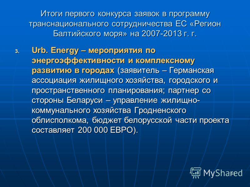 11 Итоги первого конкурса заявок в программу транснационального сотрудничества ЕС «Регион Балтийского моря» на 2007-2013 г. г. 3. Urb. Energy – мероприятия по энергоэффективности и комплексному развитию в городах (заявитель – Германская ассоциация жи