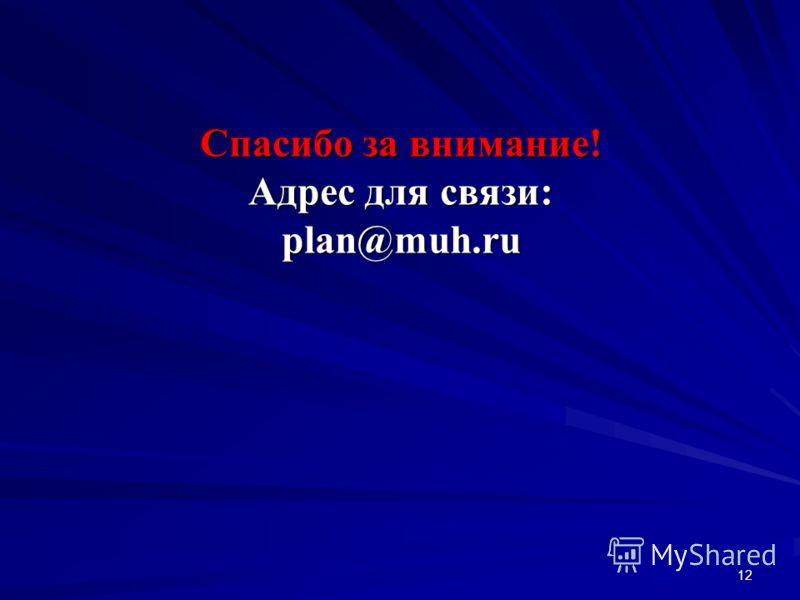 12 Спасибо за внимание! Адрес для связи: plan@muh.ru