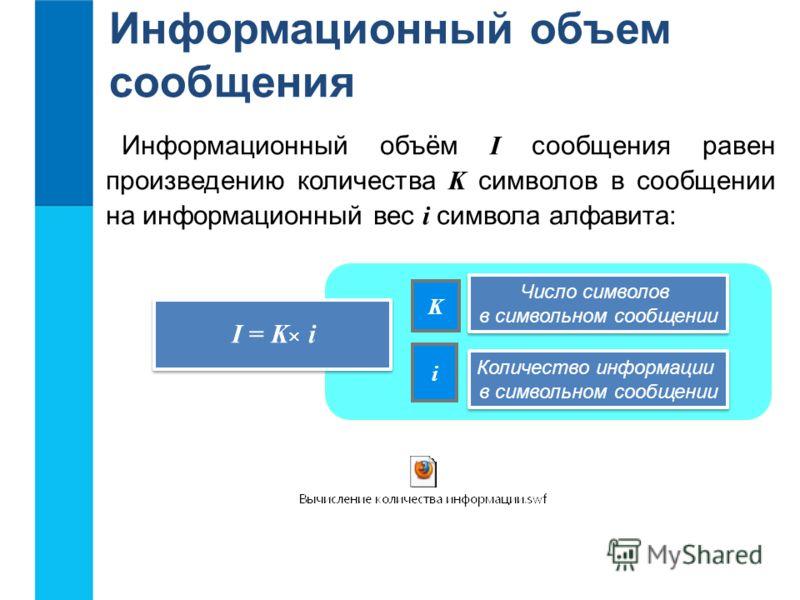 Информационный объем сообщения Информационный объём I сообщения равен произведению количества K символов в сообщении на информационный вес i символа алфавита: K i I = K i Число символов в символьном сообщении Число символов в символьном сообщении Кол