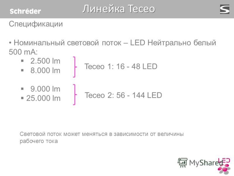 Спецификации Номинальный световой поток – LED Нейтрально белый 500 mA: Teceo 1: 16 - 48 LED Teceo 2: 56 - 144 LED 9.000 lm 25.000 lm 2.500 lm 8.000 lm Линейка Teceo Линейка Teceo Световой поток может меняться в зависимости от величины рабочего тока