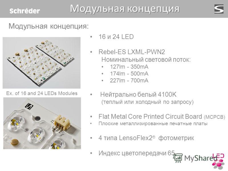16 и 24 LED Rebel-ES LXML-PWN2 Номинальный световой поток: 127lm - 350mA 174lm - 500mA 227lm - 700mA Нейтрально белый 4100K (теплый или холодный по запросу) Flat Metal Core Printed Circuit Board (MCPCB) Плоские металлизированные печатные платы 4 типа