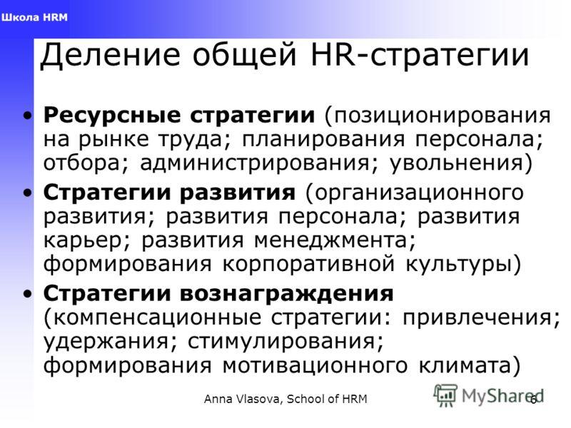Anna Vlasova, School of HRM6 Деление общей HR-стратегии Ресурсные стратегии (позиционирования на рынке труда; планирования персонала; отбора; администрирования; увольнения) Стратегии развития (организационного развития; развития персонала; развития к