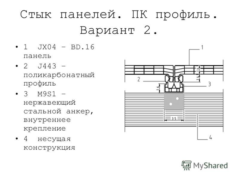Стык панелей. ПК профиль. Вариант 2. 1 JX04 – BD.16 панель 2 J443 – поликарбонатный профиль 3 M9S1 – нержавеющий стальной анкер, внутреннее крепление 4 несущая конструкция