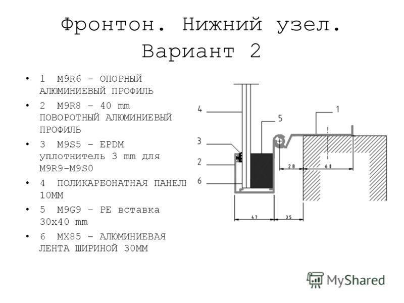 Фронтон. Нижний узел. Вариант 2 1 M9R6 – ОПОРНЫЙ АЛЮМИНИЕВЫЙ ПРОФИЛЬ 2 M9R8 – 40 mm ПОВОРОТНЫЙ АЛЮМИНИЕВЫЙ ПРОФИЛЬ 3 M9S5 – EPDM уплотнитель 3 mm для M9R9-M9S0 4 ПОЛИКАРБОНАТНАЯ ПАНЕЛЬ 10ММ 5 M9G9 – PE вставка 30x40 mm 6 MX85 – АЛЮМИНИЕВАЯ ЛЕНТА ШИРИ