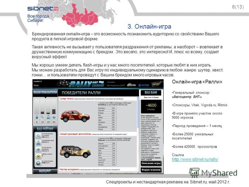 Спецпроекты и нестандартная реклама на Sibnet.ru, май 2012 г. 6(13) 3. Онлайн-игра Онлайн-игра «Ралли» Генеральный спонсор: «Автоцентр АНТ» Спонсоры: Vitek, Vigoda.ru, Ritmix В игре приняло участие около 9000 игроков Период проведения – 1 месяц Более