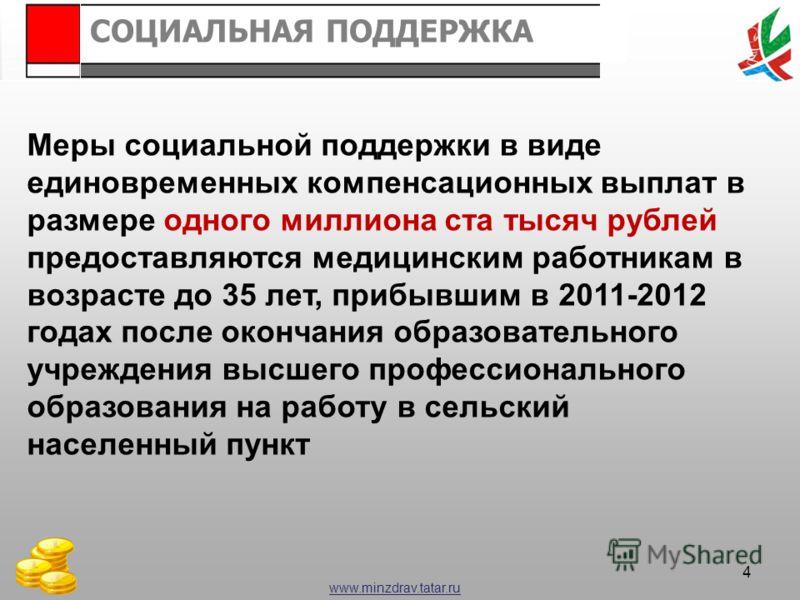 www.minzdrav.tatar.ru СОЦИАЛЬНАЯ ПОДДЕРЖКА 4 Меры социальной поддержки в виде единовременных компенсационных выплат в размере одного миллиона ста тысяч рублей предоставляются медицинским работникам в возрасте до 35 лет, прибывшим в 2011-2012 годах по