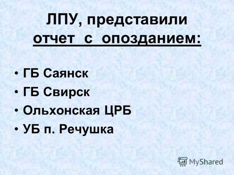 ЛПУ, представили отчет с опозданием: ГБ Саянск ГБ Свирск Ольхонская ЦРБ УБ п. Речушка