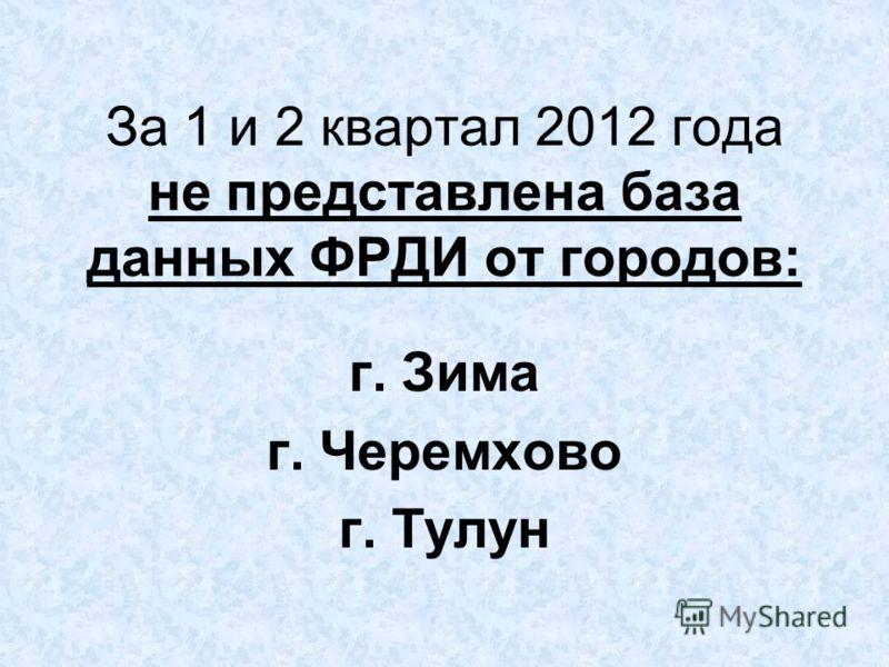 За 1 и 2 квартал 2012 года не представлена база данных ФРДИ от городов: г. Зима г. Черемхово г. Тулун