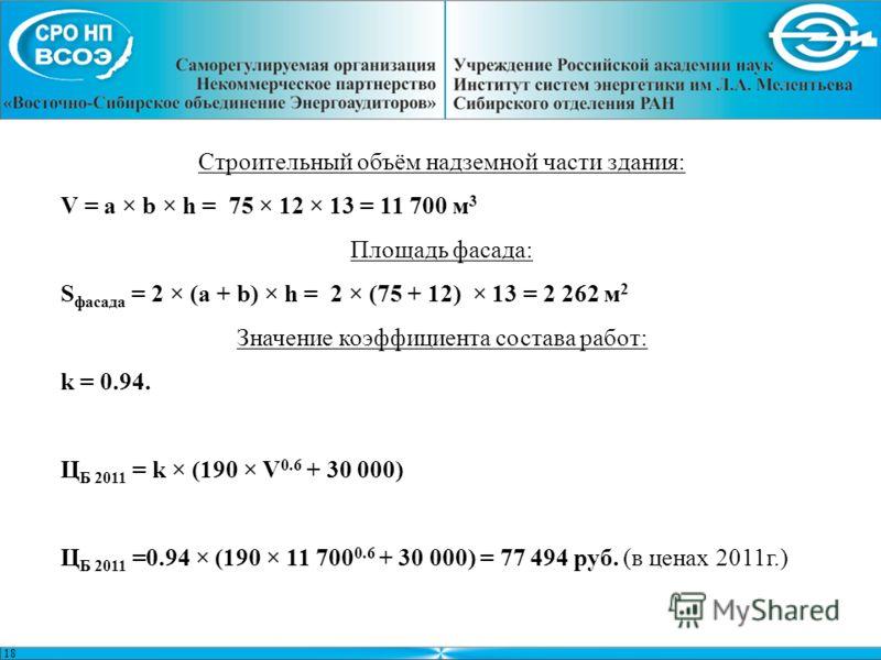 Строительный объём надземной части здания: V = a × b × h = 75 × 12 × 13 = 11 700 м 3 Площадь фасада: S фасада = 2 × (a + b) × h = 2 × (75 + 12) × 13 = 2 262 м 2 Значение коэффициента состава работ: k = 0.94. Ц Б 2011 = k × (190 × V 0.6 + 30 000) Ц Б