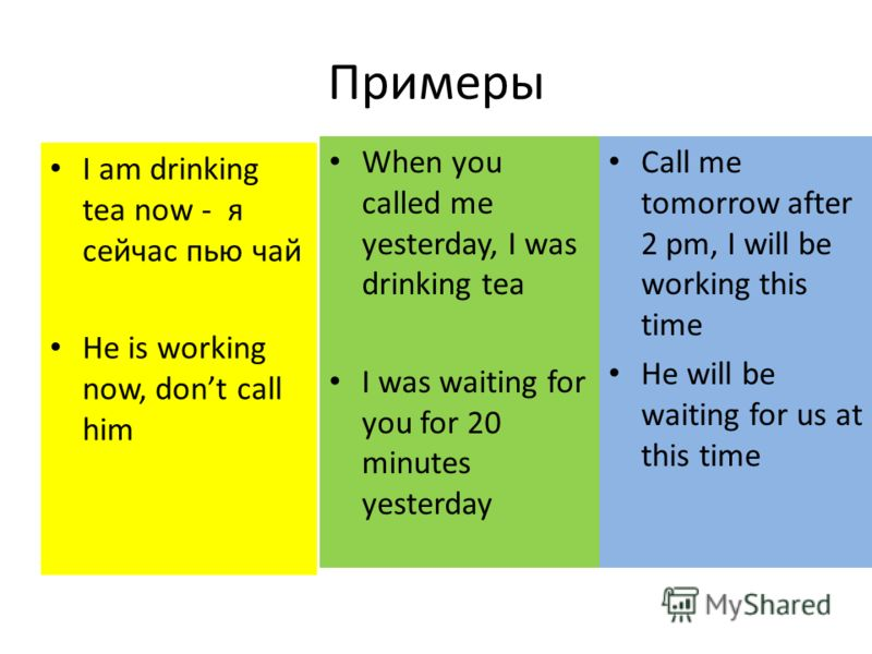 Примеры I am drinking tea now - я сейчас пью чай He is working now, dont call him When you called me yesterday, I was drinking tea I was waiting for you for 20 minutes yesterday Call me tomorrow after 2 pm, I will be working this time He will be wait