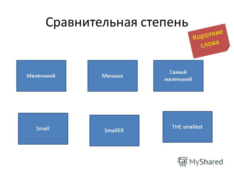Сравнительная степень Маленький Самый маленький Меньше THE smallest SmallER Small Короткие слова