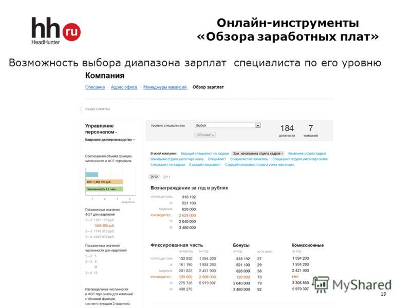 19 Онлайн-инструменты «Обзора заработных плат» Возможность выбора диапазона зарплат специалиста по его уровню