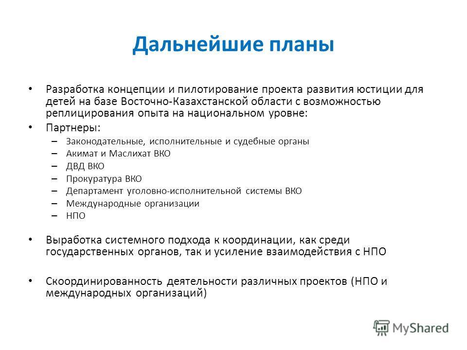 Дальнейшие планы Разработка концепции и пилотирование проекта развития юстиции для детей на базе Восточно-Казахстанской области с возможностью реплицирования опыта на национальном уровне: Партнеры: – Законодательные, исполнительные и судебные органы