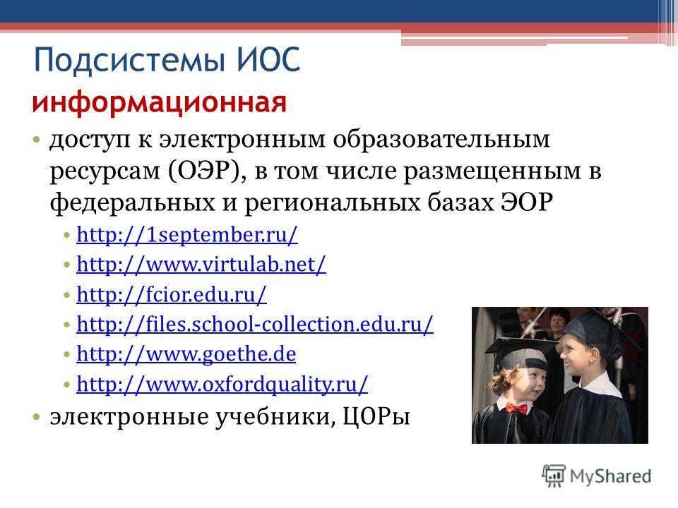 Подсистемы ИОС информационная доступ к электронным образовательным ресурсам (ОЭР), в том числе размещенным в федеральных и региональных базах ЭОР http://1september.ru/ http://www.virtulab.net/ http://fcior.edu.ru/ http://files.school-collection.edu.r