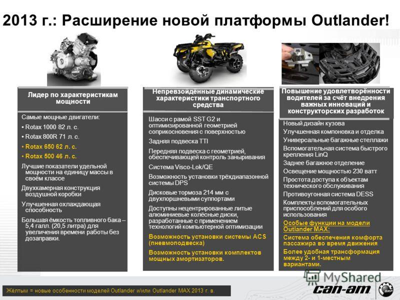 2013 г.: Расширение новой платформы Outlander! Самые мощные двигатели: Rotax 1000 82 л. с. Rotax 800R 71 л. с. Rotax 650 62 л. с. Rotax 500 46 л. с. Лучшие показатели удельной мощности на единицу массы в своём классе Двухкамерная конструкция воздушно