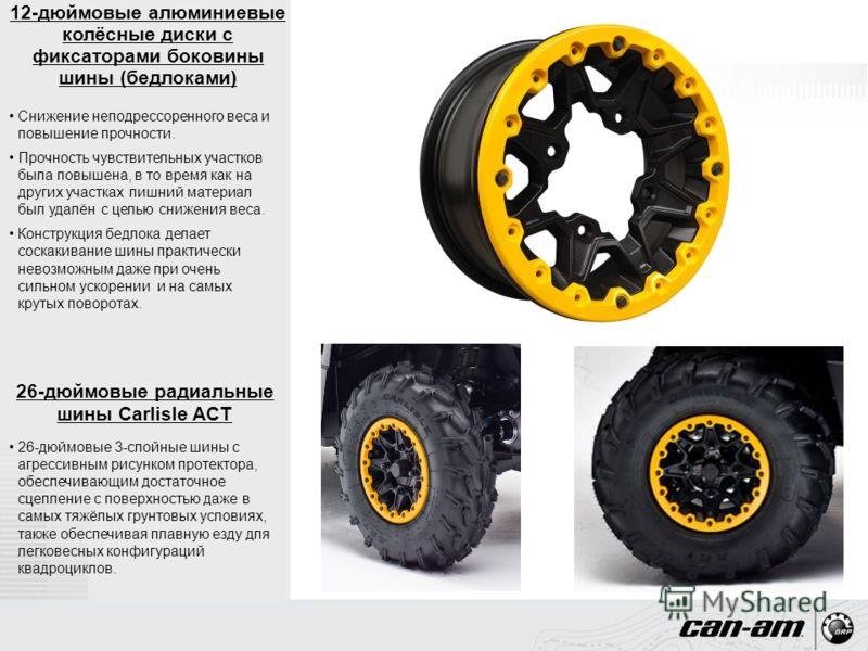 12-дюймовые алюминиевые колёсные диски с фиксаторами боковины шины (бедлоками) Снижение неподрессоренного веса и повышение прочности. Прочность чувствительных участков была повышена, в то время как на других участках лишний материал был удалён с цель