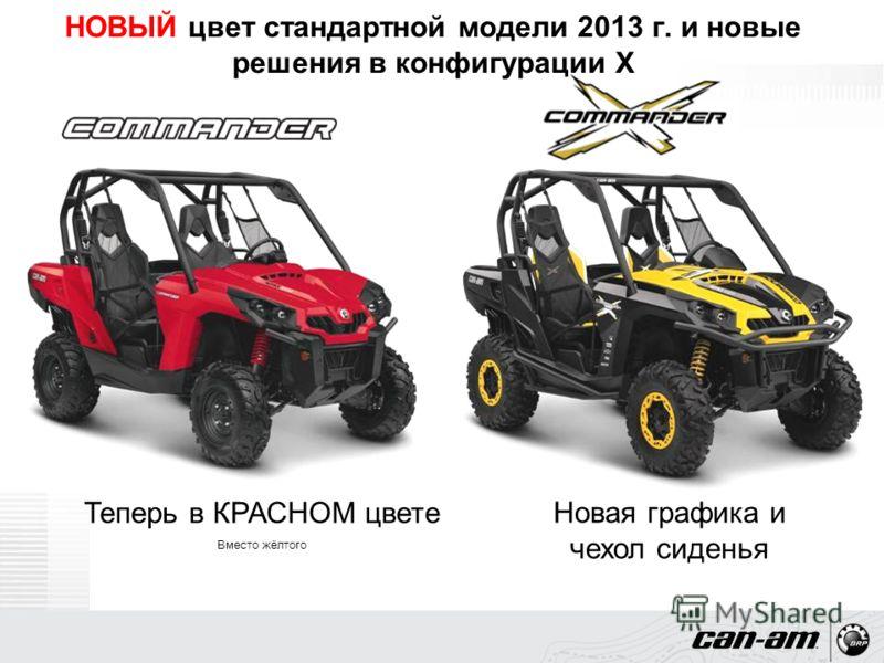 НОВЫЙ цвет стандартной модели 2013 г. и новые решения в конфигурации X Теперь в КРАСНОМ цвете Вместо жёлтого Новая графика и чехол сиденья