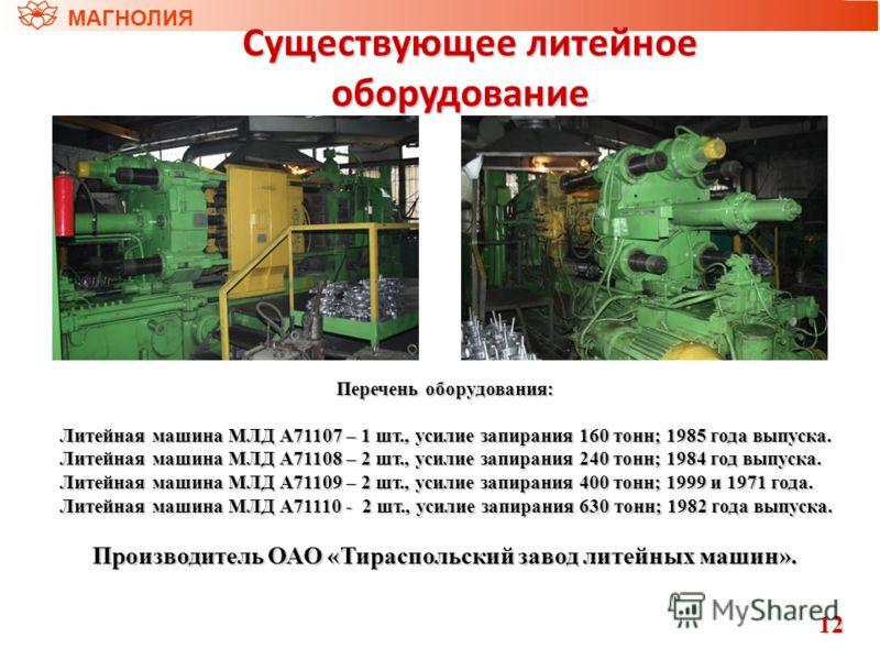 МАГНОЛИЯ Перечень оборудования: Литейная машина МЛД А71107 – 1 шт., усилие запирания 160 тонн; 1985 года выпуска. Литейная машина МЛД А71107 – 1 шт., усилие запирания 160 тонн; 1985 года выпуска. Литейная машина МЛД А71108 – 2 шт., усилие запирания 2