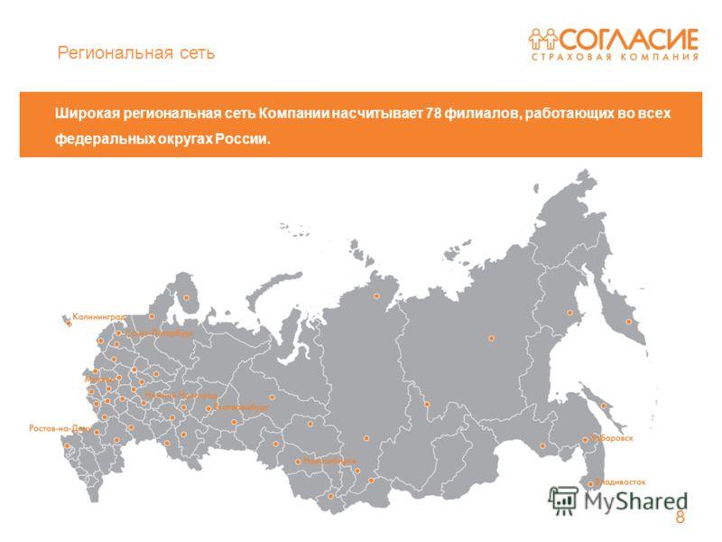 Широкая региональная сеть Компании насчитывает 78 филиалов, работающих во всех федеральных округах России. 8 Региональная сеть