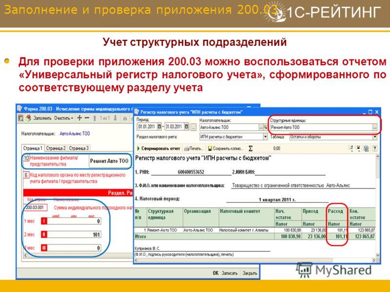 1С-РЕЙТИНГ Учет структурных подразделений Для проверки приложения 200.03 можно воспользоваться отчетом «Универсальный регистр налогового учета», сформированного по соответствующему разделу учета Заполнение и проверка приложения 200.03