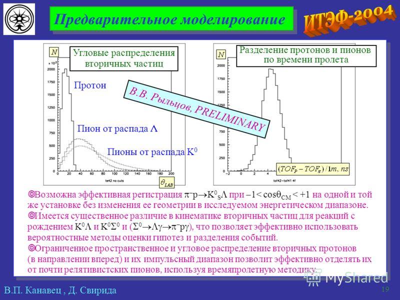 В.П. Канавец, Д. Свирида 19 Предварительное моделирование Возможна эффективная регистрация – p K 0 S при 1< cos СМ < +1 на одной и той же установке без изменения ее геометрии в исследуемом энергетическом диапазоне. Имеется существенное различие в кин